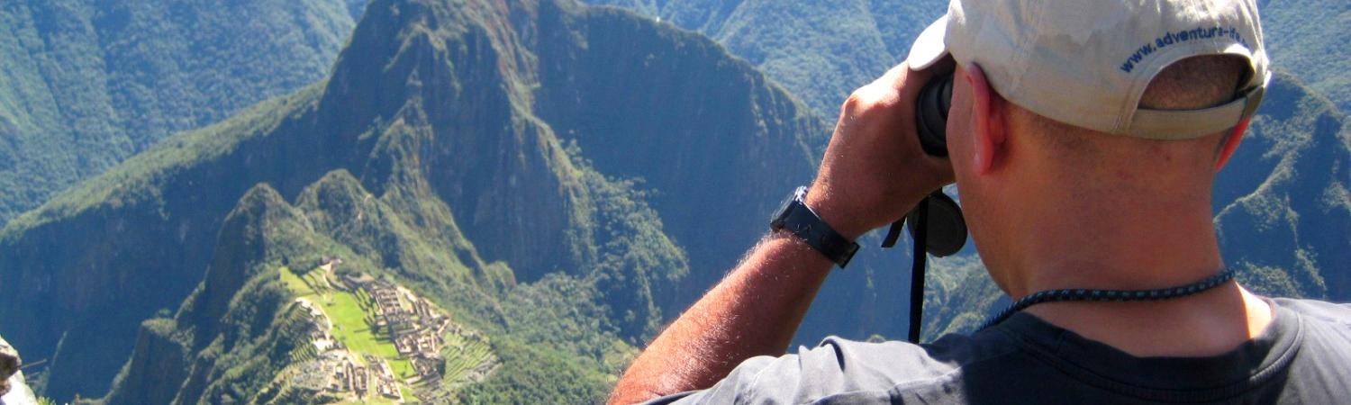 Bird's eye view of Machu Picchu with Juan