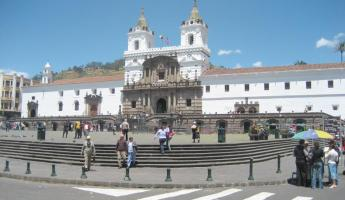 Old town teems with Colonial architecture, such as this plaza visited on an Ecuador tour