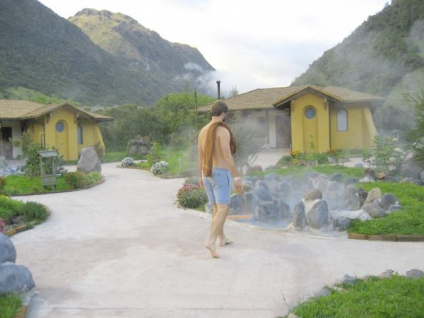 A traveler at the Papallacta hot springs