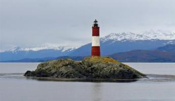 A lighthouse as we sail from Ushuaia