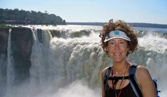 Standing in front of the powerful Iguazu Falls