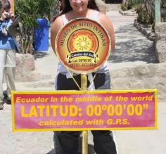 on each side of the equator