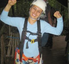 Preparing for tree climbing during Costa Rica Adventure tour