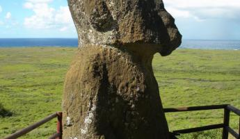 The only sitting Moai