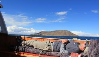 relaxing. Lake Titicaca.