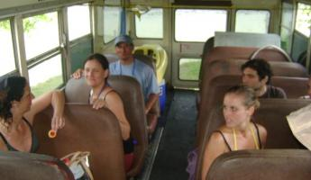 bus ride to raft the Savagre River