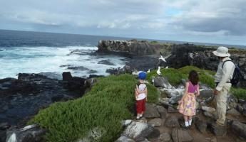 A family explores the shores of the Galapagos