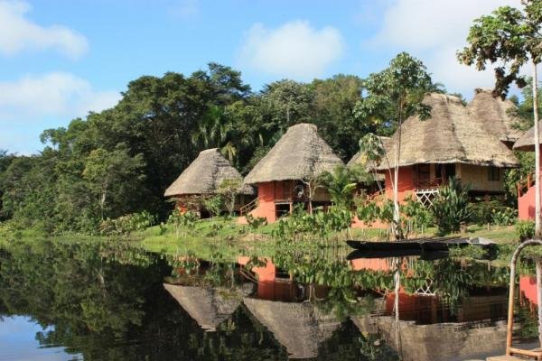 12 luxury cabanas house guests in comfort at the Napo Wildlife Center