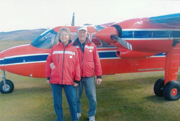 Helen and I with FIGAS eight passenger interisland plane