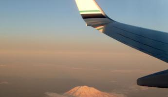 Flying over Mount St. Helends in Washington