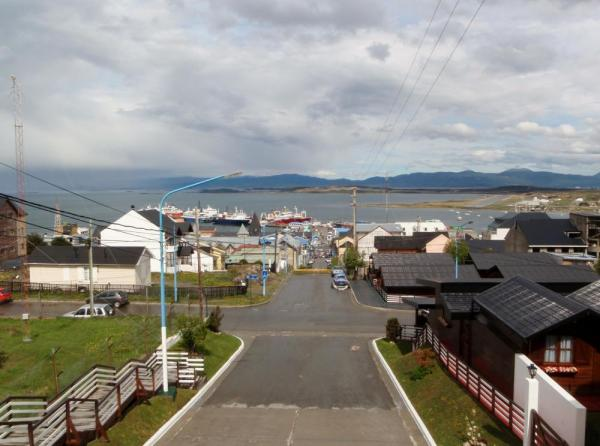 The port of Ushuaia from up the hill