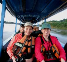 And so it begins!  On the canoe, heading upriver to our first stop, Refugio Amazonas.
