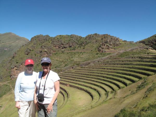 The terraces at Pisac.  You can see the graineries at the top.