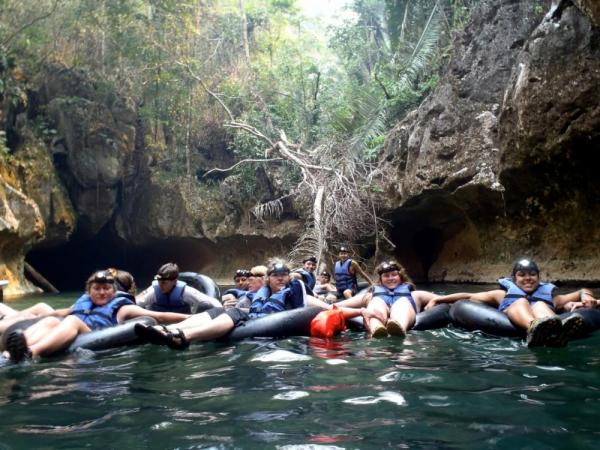 The beginning of our cave-tubing experience!