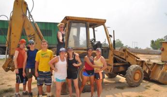 Construction Crew! We pounded dirt and moved rocks for five hours.