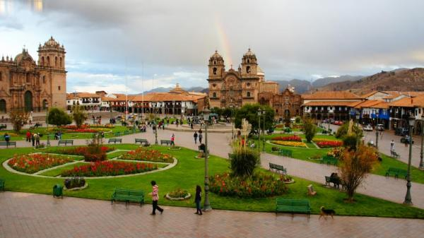 Overlooking the Plaza de Armas, Cusco - double rainbow