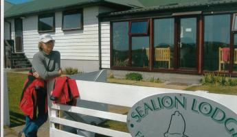 Helen Hall at sea Lion  Island Lodge