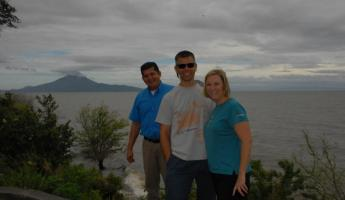 With guide Roberto at Lake Managua