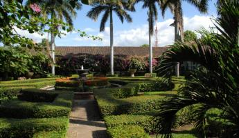 Gardens at El Convento Hotel in Leon