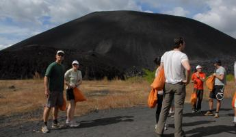 Prepping for Volcano Boarding on Cerro Negro