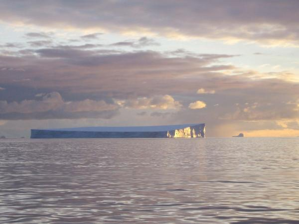 Sunset and icebergs during Antarctica cruise