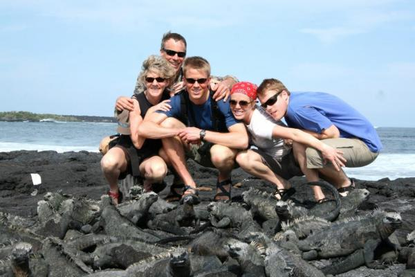 rolfing family photo in the galapagos