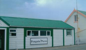 "newspaper ""Penguin News\""  office at Stanley"