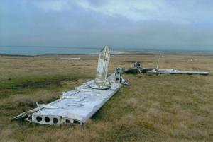 remains of Argentine plane by British-1982 Pebble Island