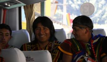 Performers on bus to Machu Picchu