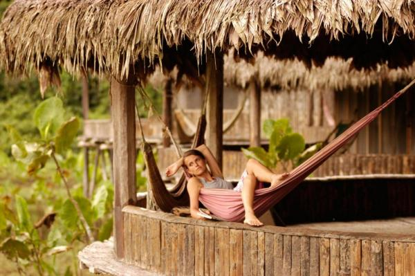 Relax in a hammock and view the wildlife of the lagoon below