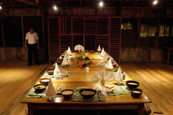 Dine in the spacious dining structure, enjoying a tasty combination of Ecuadorian and International dishes