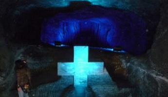 Amazing sculptures and light effects of crosses