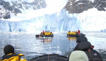 Zodiacs during Antarctic tour in Paradise Bay