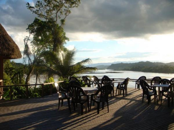 Soak in the views of the Napo River from the dining deck