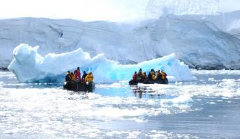 Icebergs and sunshine during Antarctic cruise