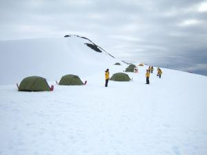 Antarctica camping during an polar expedition cruise