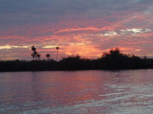Sunset over the Gambian River in Kuntaur