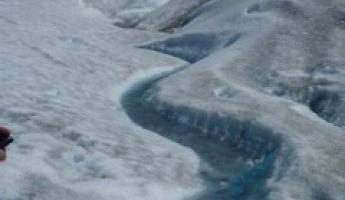 Streams on the face of the glacier
