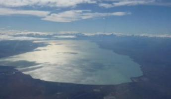 Lake Argentina from the air leaving El Calafate