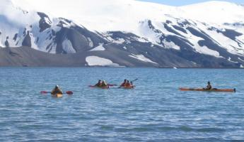 Sea kayaking in Deception Island during Antarctica tour