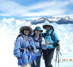 Carol, Katherine, and Janet at Perito Moreno Glacier