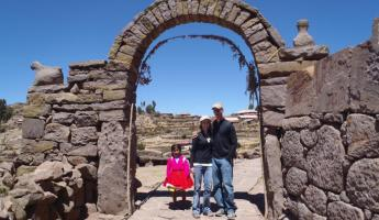 Sharing a moment with a local girl near Lake Titicaca