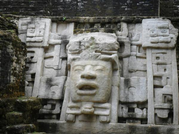 Lamanai Ruins - 13 foot stone mask of Mayan King