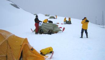Overnight camping during Antarctic tour