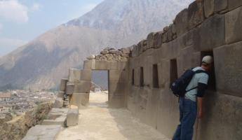 Tom checking out the Incan acoustic system, Ollantaytambo