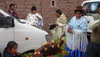 Wedding ceremony on the road to Puno
