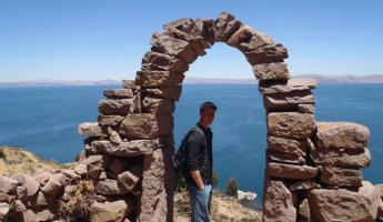 Archway looking out on Lake Titicaca