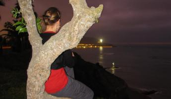 Admiring the Lima nighttime coastline