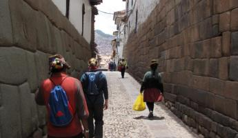 Inca walls and road in Cusco