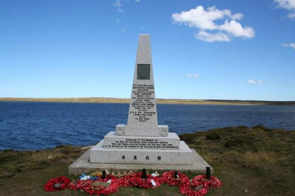 Monument at Fitzroy to Welsh Guards on a Stanley day trip